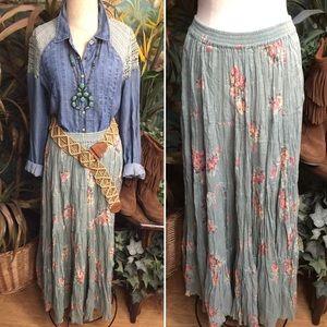 """Sarah Arizona"" maxi gypsy floral peasant skirt-XL"